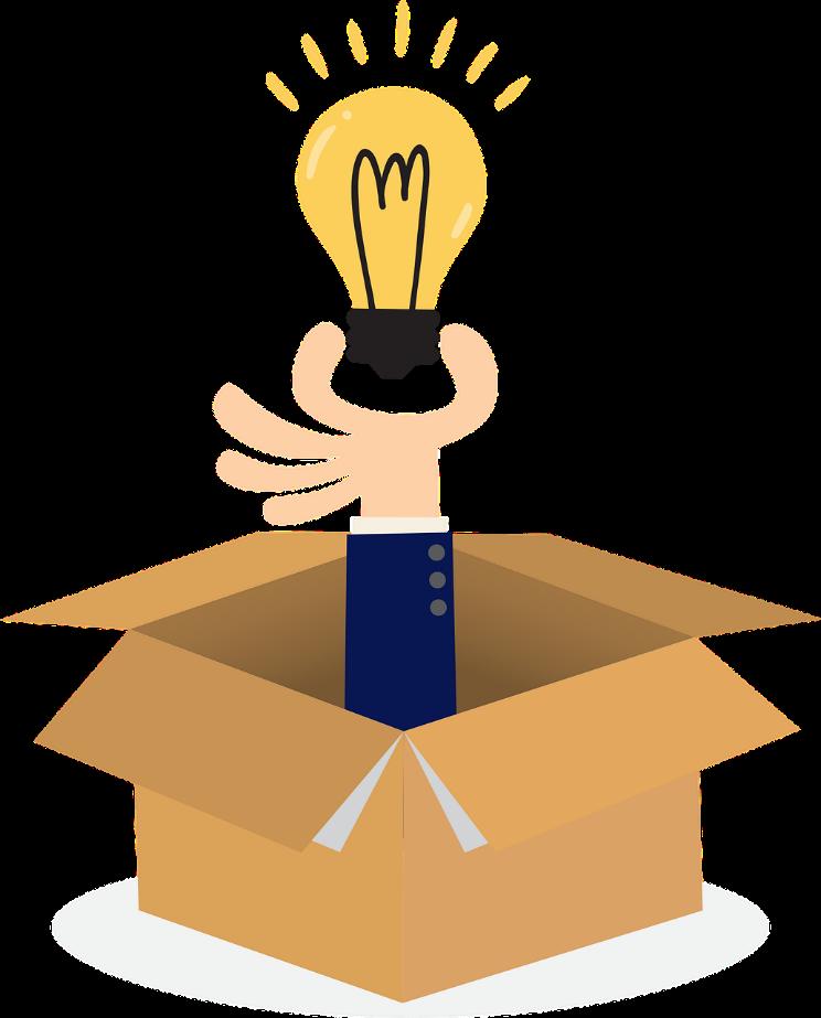 hand holding a lightbulb out of a box, Hand hält Glühbirne aus einem Karton